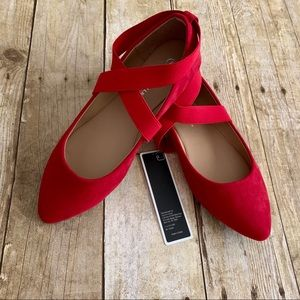Red Faux Suede Point Toe Ballet Flats Ankle Strap